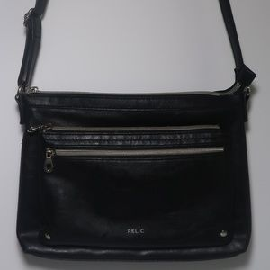 Relic Black Crossbody 3-zipper Womens Shoulder Bag